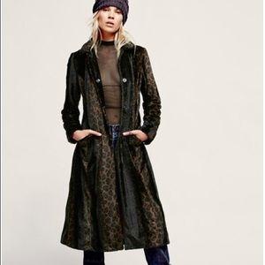 Free People Leopard Print Fur Overcoat!